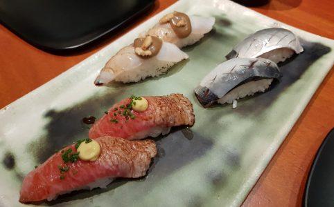 Partly seared tuna belly | Sardine with Lardo | Partly seared turbot Nigiri