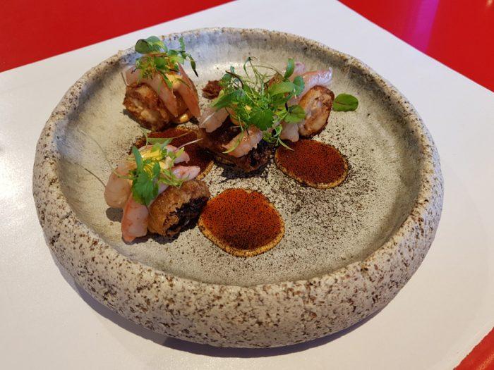 Duck and white prawns warm sashimi vietnamese nem with sweetsour chillis and creamy aioli