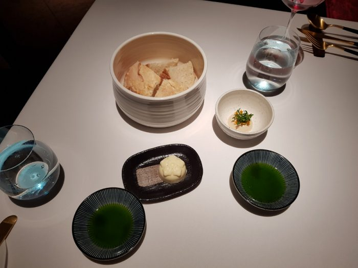 Bread, Butter, Silken Tofu, Parsley oil