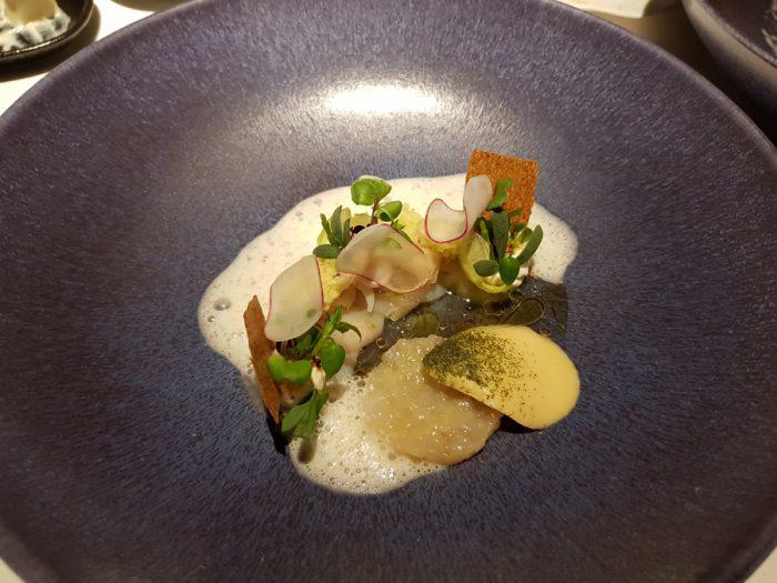 Scallop   Brussels sprouts, Razor clam, Calamansi