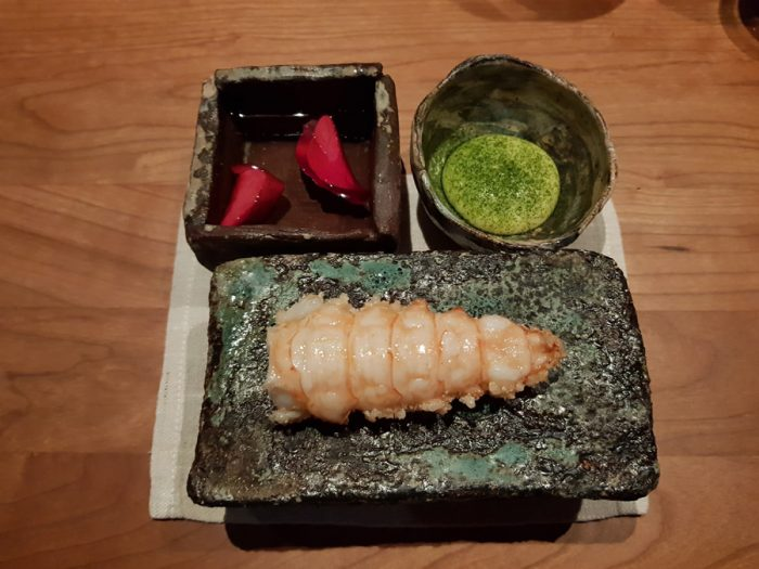 deep fried langoustine: crispy rice (koshihikari), dried green onions, emulsion of clarified butter infused with ginger