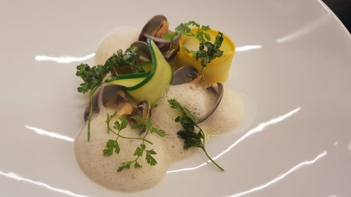 Clams (Palourdes) - (emulsion, courgette, foamed bouillon with garlic/soy/ginger, onions, fried parsley)