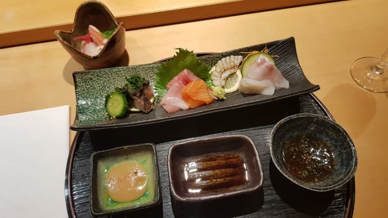 Assorted Sashimi (Seabass, Turbot, flamed Turbot tail, Scottish Salmon, Yellowtail, Medium fatty Tuna from Spain, flamed Mackerel, Squid, Deep Sea Shrimp, Octopus, King Krab, Scallop, Hotategai-Clam) with Miso Mustard, Soy Sauce and Ponzu Sauce