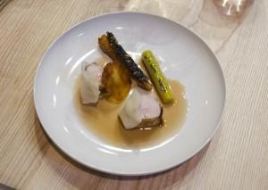 M1: Rabbit, octopus, pomme maxime, black salsify, celery, olive crocant, juniper