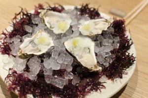 Oyster with wasabi and iced apple