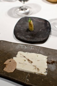 White apsaragus and truffle viennetta
