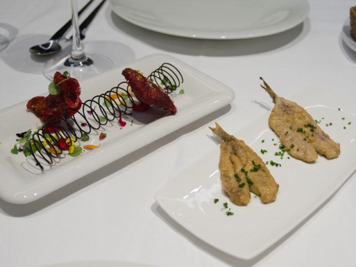Moringa and prawn gyoza | Fried anchovy