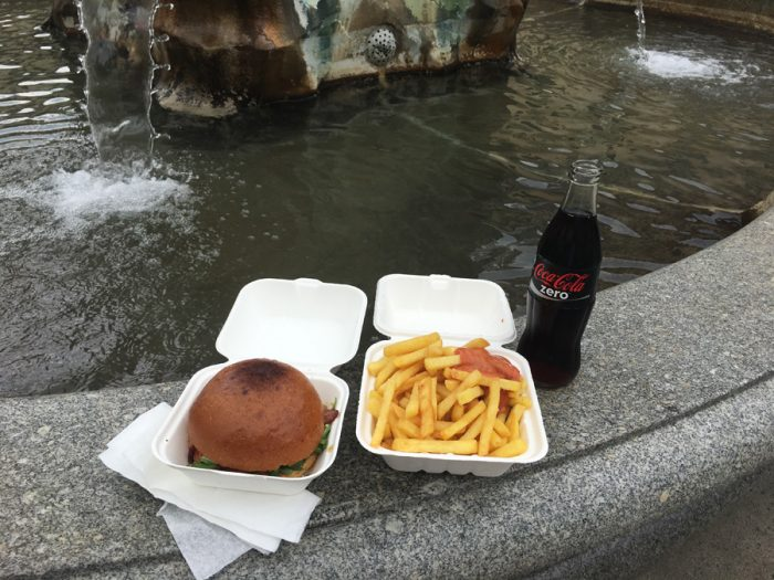 Burger, fries, coke