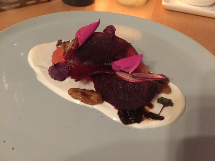 Beet, sheep cheese, sprouts and roses