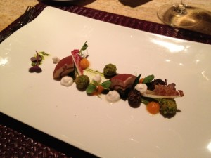 Parfait of goose liver with pistachios and kumquat