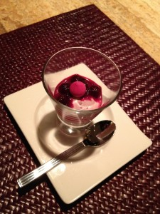 Blackberry mousse with beetroot ragout