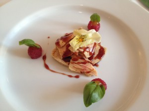 Marinated goose liver with filled raspberrys
