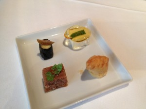 Fish croquette, lamb aspic, polenta maki, cow cream cheese with caramel chip