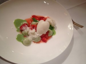 Sorrel-cream with woodruff-strawberries, mozarella and elder-yogurt-ice-cream