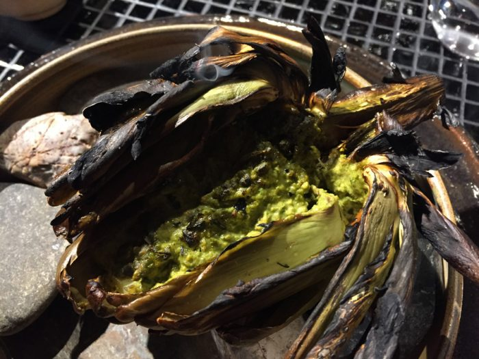 artichoke with pistachio and lemongrass sauce
