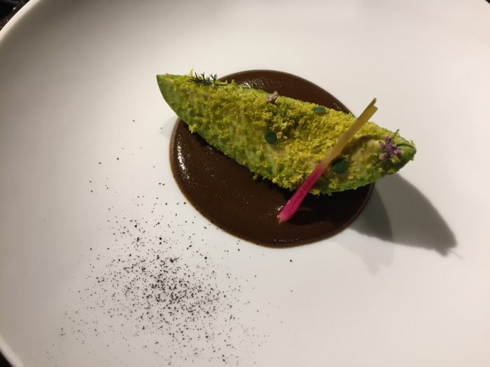 avocado with black garlic mole