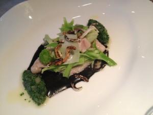 Danube salmon with broccoli, black rice and camomile
