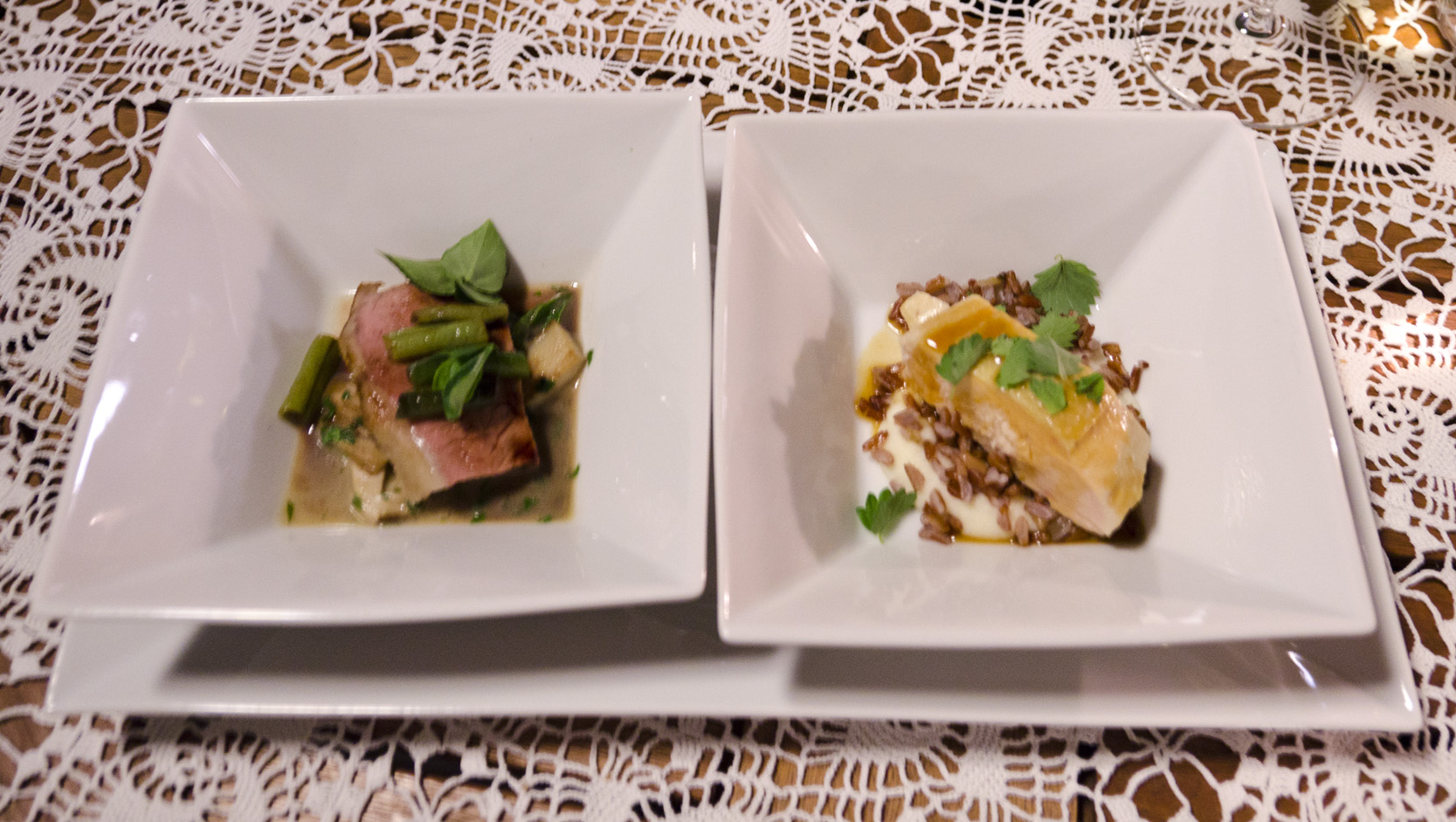 Boiled veal (tafelspitz), roasted with lovage, porcini and cowpea (l) - Corn fed chicken with camargue rice, celery puree and pimpinella (r)