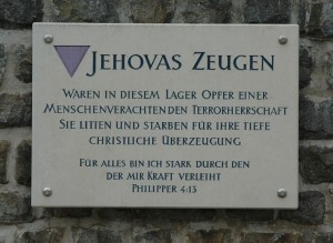Gedenktafel für die Zeugen Jehovas/Bibelforscher im ehemaligen Konzentrationslager Mauthausen
