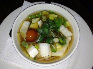 Winter vegetable soup with tamarind and thai basil