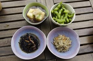 Silk tofu, edamame, seaweed salad