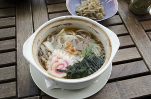 Soup with udon noodles and beef