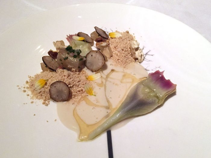 Artichokes | Nashi pear, walnuts and grated foie gras