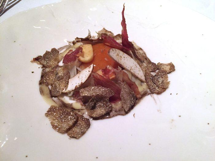 Warm Bantam's egg | Celeriac, arbois, dried ham and truffle