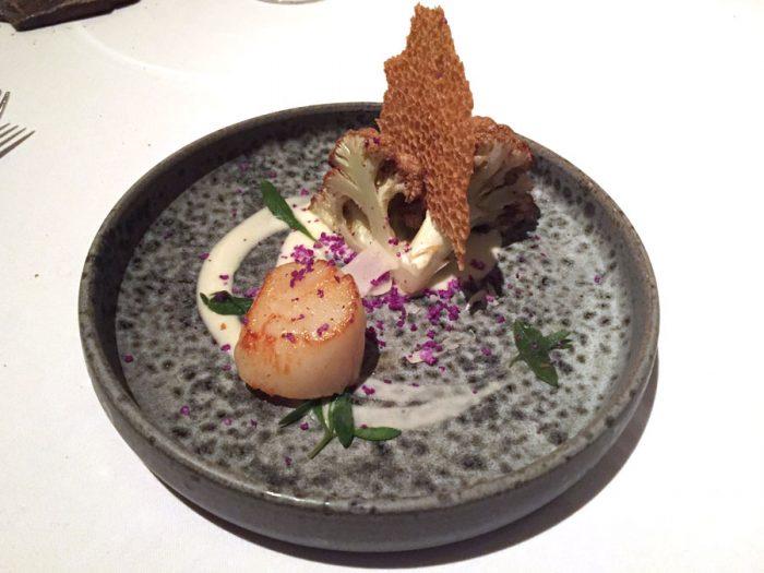 Roast scallops | Cauliflower and Bonito butter