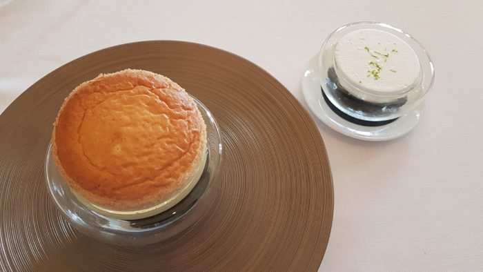 Lemon soufflé | Lemon and tarragon sorbet, berry of juniper