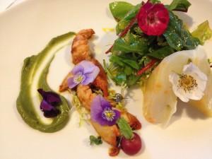 Aspic of asparagus, crayfish and avocado