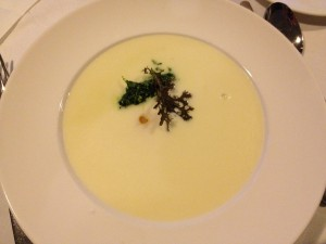 White asparagus soup, waxy yolk and nettle pesto