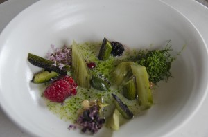 Everything that's in season (butter milk and parsley-oil-soup, berries, fennel, camomile)
