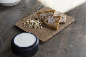 Iced malt caramel, yoghurt with jam, salt with elderflower