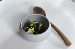Pea flower, fresh hazelnuts and berries