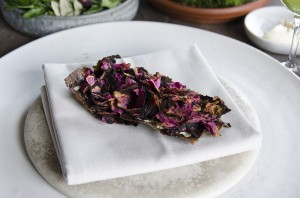Grilled rye bread, lemon thyme and brown butter, grilled roses