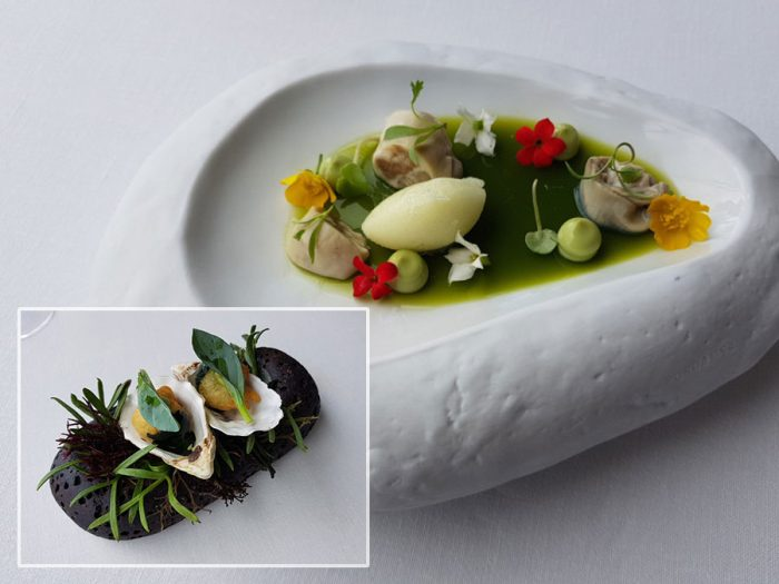 Oyster, apple, roquette and flowers