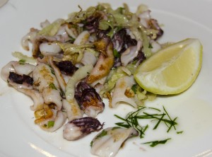 Tepid salad of calamari and fennel