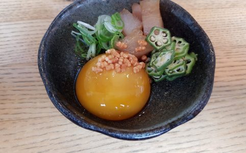 Onsen egg with hamachi, okra and spring onions
