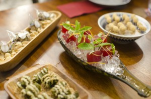 Sangria Infused Water Melon, Pistaccios, Tempura Peanuts, Nori and Sesame Cracker