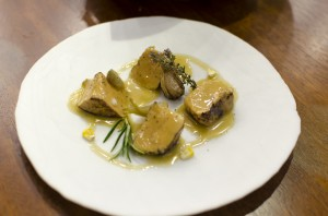 Foie gras, pickles, bread and sauce escabeche