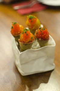 Tuna/tomato/tobiko roe, cone with nori and marinated apple