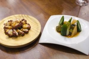 Pak choi, cucumber, kimchi and pulpo